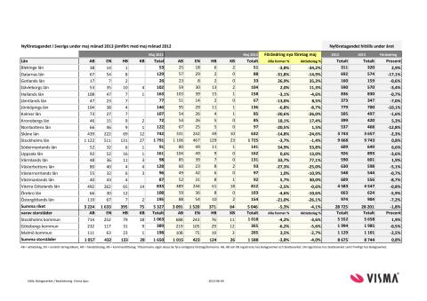 Vismas månadsrapport för nyföretagandet (maj 2013)