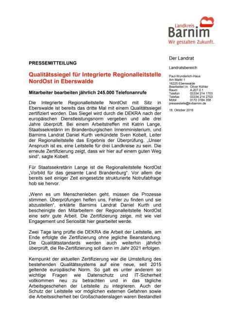 Qualitätssiegel für Integrierte Regionalleitstelle NordOst in Eberswalde