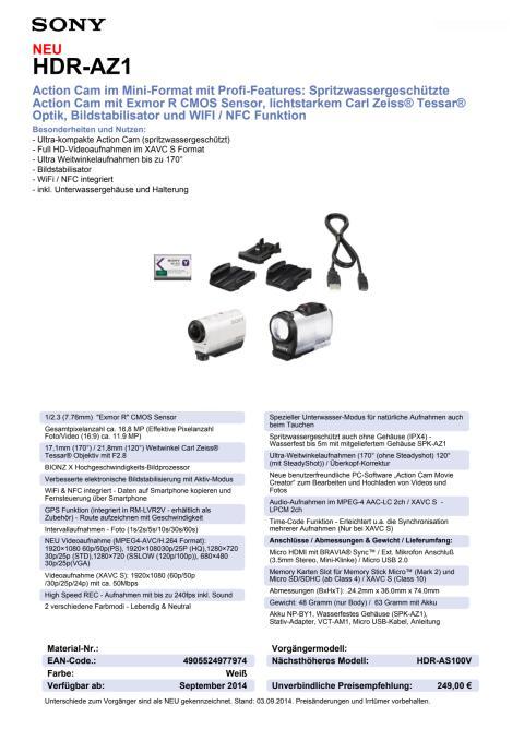 Datenblatt HDR-AZ1 von Sony