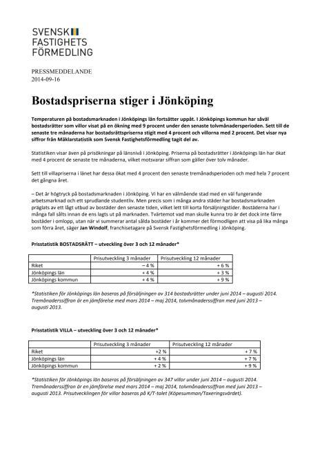 Bostadspriserna stiger i Jönköping