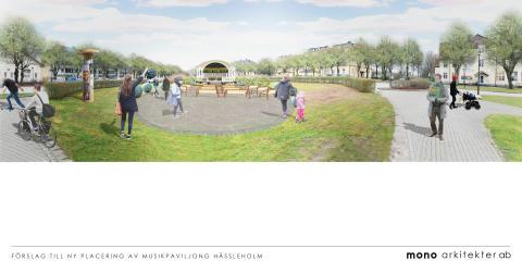 Skiss från Mono arkitekter AB med förslag på musikpaviljongens nya placering med vy över kaserngården.