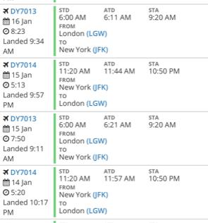 Flightradar24 data showing the official flight time of record-breaking flight