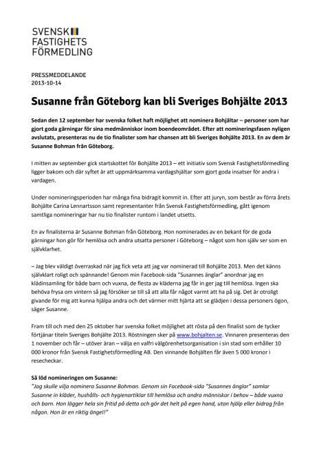 Susanne från Göteborg kan bli Sveriges Bohjälte 2013