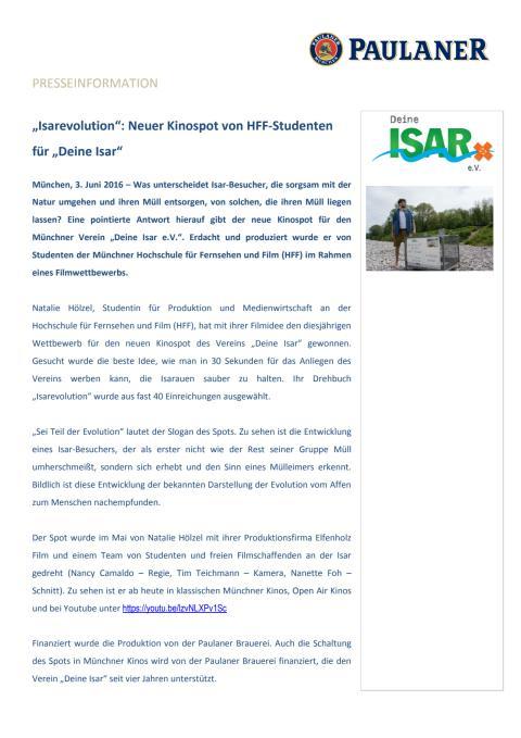 """""""Isarevolution"""": Neuer Kinospot von HFF-Studenten für """"Deine Isar"""""""