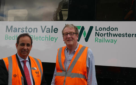 Jan Chaudhry-van der Velde and Adrian Shooter unveil with special Marston Vale livery for the upcoming Class 230 units
