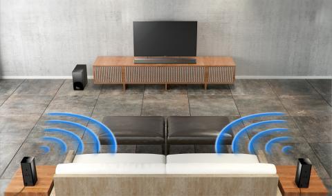 Tecnologia de som surround sem fios simplificada