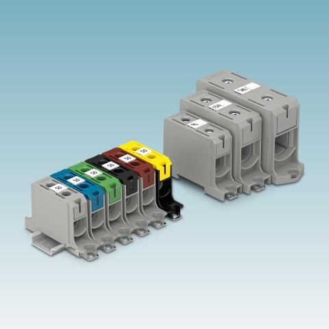 Universal terminal blocks for aluminium and copper conductors