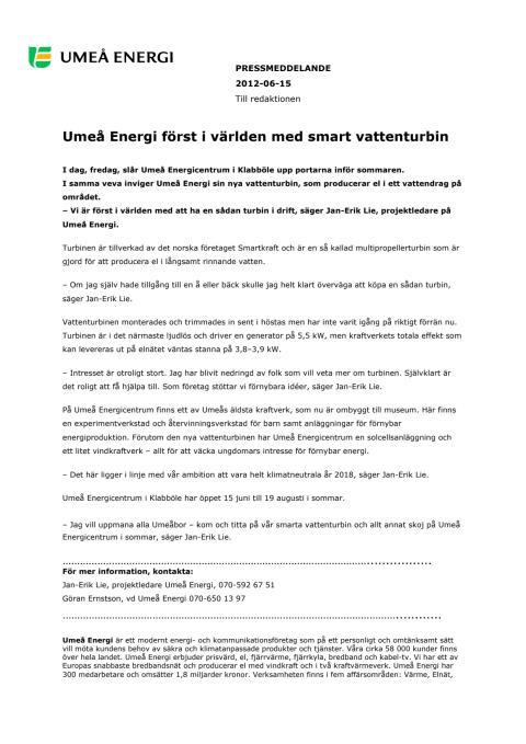 Umeå Energi först i världen med smart vattenturbin