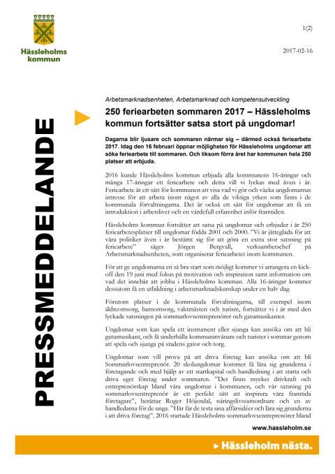 250 feriearbeten sommaren 2017 – Hässleholms kommun fortsätter satsa stort på ungdomar!