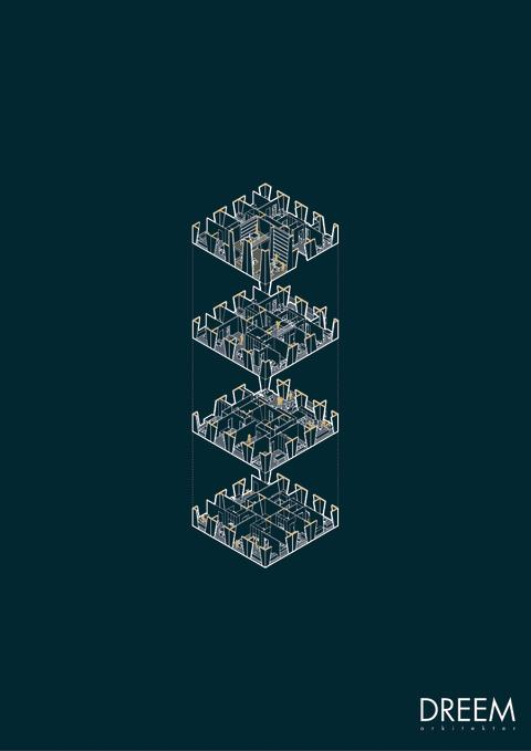 Sprängskiss över höghus i förslaget 'Collective Geometries'