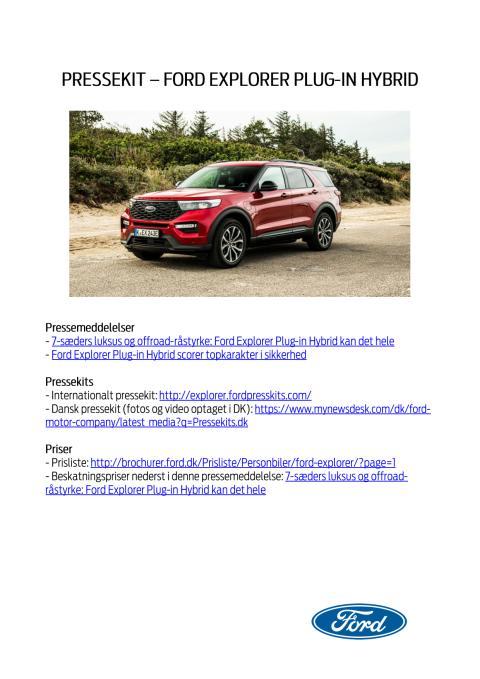 Pressekit - Ford Explorer Plug-in Hybrid