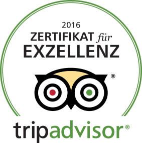 TripAdvisor Zertifikat für Exzellenz 2016 für das DolceVita Hotel Lindenhof