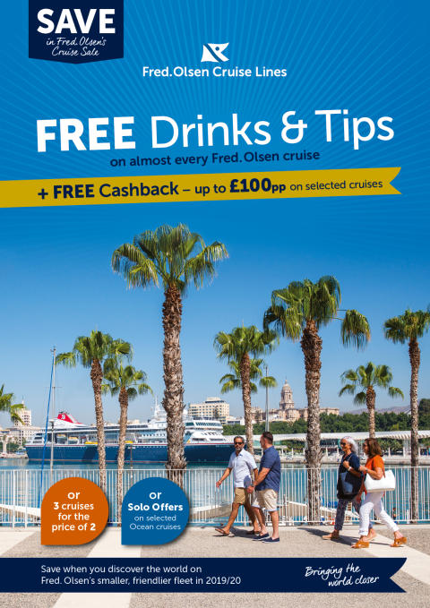 Enjoy 'FREE Drinks and Tips', and other tempting savings, in Fred. Olsen's new 'Cruise Sale'