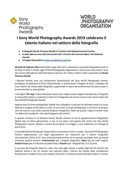 I Sony World Photography Awards 2019 celebrano il talento italiano nel settore della fotografia