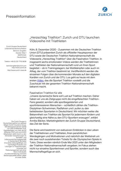 """""""Herzschlag Triathlon"""": Zurich und DTU launchen Videoreihe mit Triathleten"""