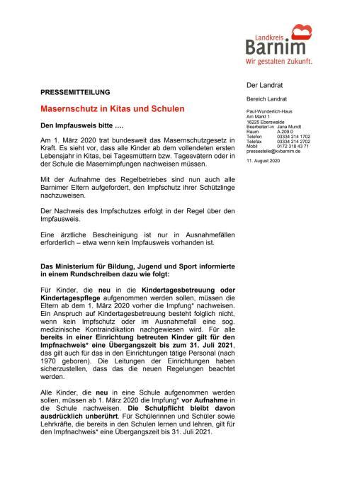 Masernschutz in Kitas und Schulen