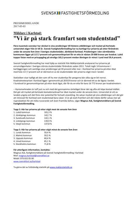 """Mäklare i Karlstad: """"Vi är på stark framfart som studentstad"""""""