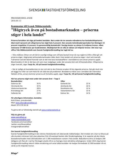 """Kommentar till Svensk Mäklarstatistik: """"Högtryck även på bostadsmarknaden – priserna stiger i hela landet"""""""