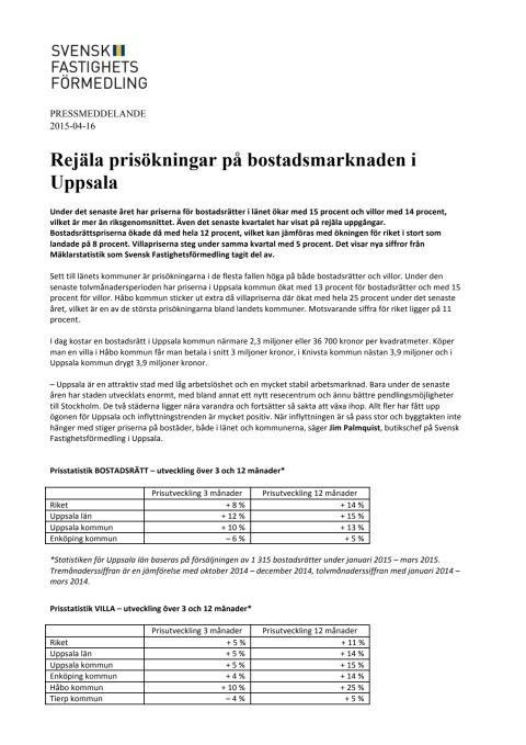 Rejäla prisökningar på bostadsmarknaden i Uppsala
