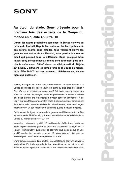 Communication de presse_Football Coupe du monde 2014 en qualité 4K_F-CH_140612
