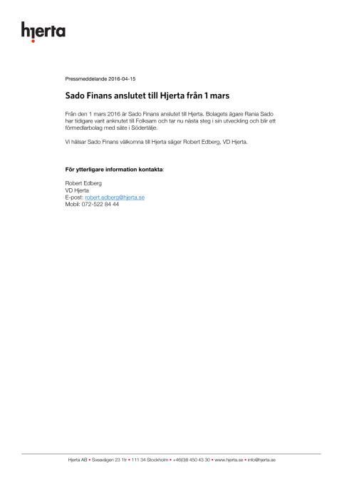 Sado Finans anslutet till Hjerta från 1 mars