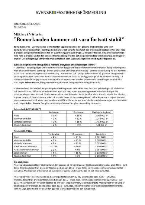 """Mäklare i Västerås: """"Bomarknaden kommer att vara fortsatt stabil"""""""