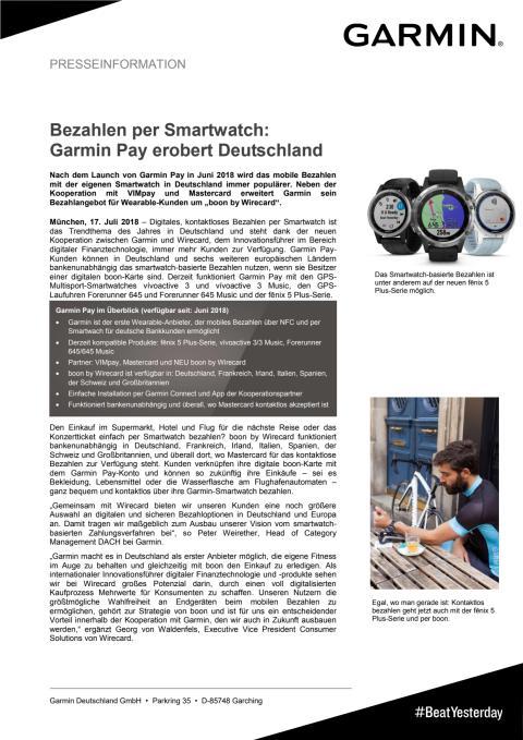 Bezahlen per Smartwatch:  Garmin Pay erobert Deutschland