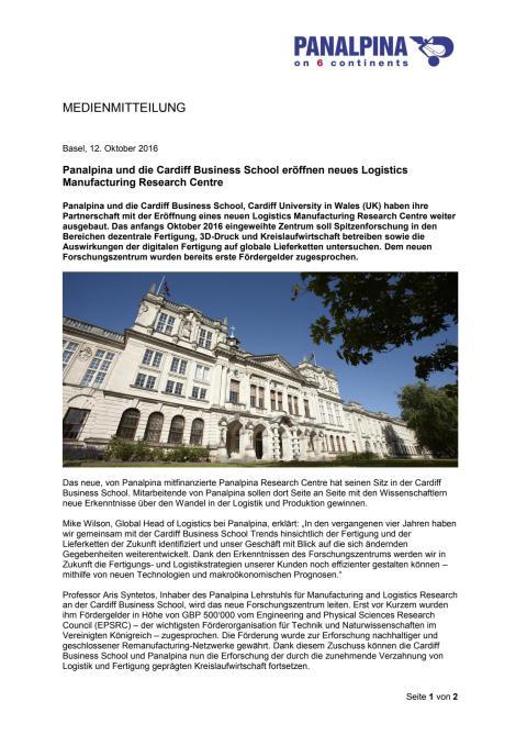 Panalpina und die Cardiff Business School eröffnen neues Logistics Manufacturing Research Centre