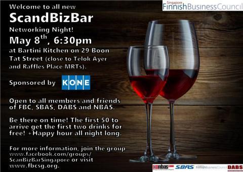 ScandBizBar Networking Night, Thursday 8 May 18.30 pm at Bartini Kitchen