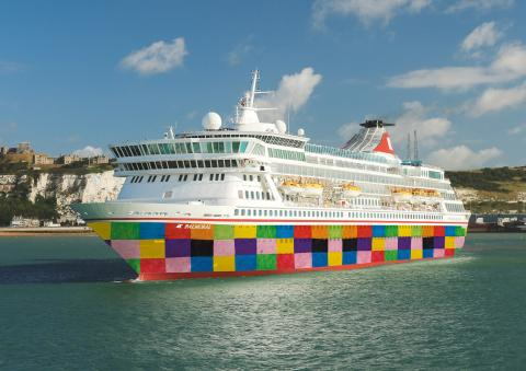 Fred. Olsen Cruise Lines unveils new patchwork livery on flagship 'Balmoral' to raise awareness of Suffolk Hospice campaign