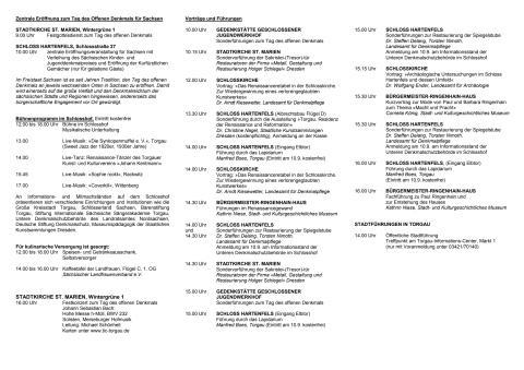 Familienprogramm zum Tag des offenen Denkmals in Torgau
