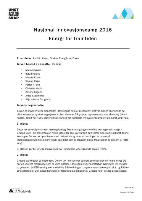 Juryens begrunnelse Energi for framtiden 2016
