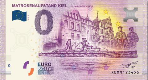Der neue Kieler 0€-Schein zu 100 Jahre Demokratie - Kieler Matrosenaufstand von 1918