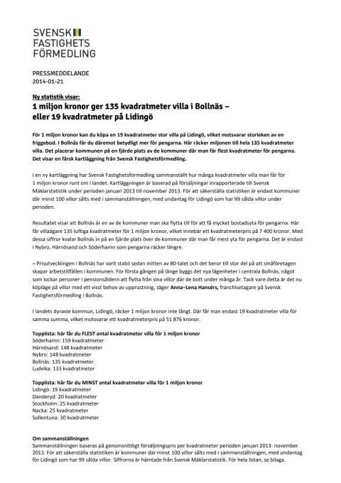 1 miljon kronor ger 135 kvadratmeter villa i Bollnäs – eller 19 kvadratmeter på Lidingö