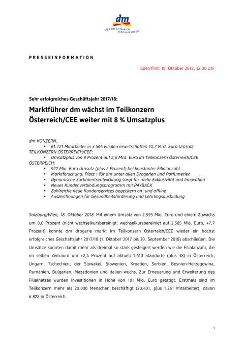 Presseinformation dm Österreich: Marktführer dm wächst im Teilkonzern Österreich/CEE weiter mit 8 % Umsatzplus