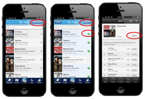 """Shazam Launches New """"Select & Buy"""" Multi-Item Purchase Feature on iPhone, iPod touch and iPad"""