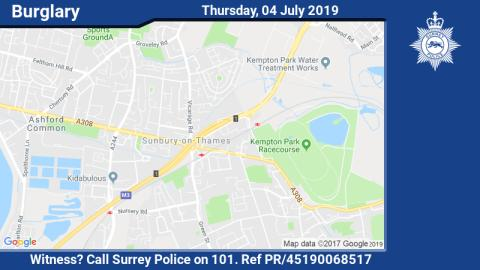 Appeal for witnesses after burglary in Sunbury-on-Thames