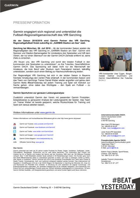 Garmin engagiert sich regional und unterstützt die Fußball-Regionalligamannschaft des VfR Garching