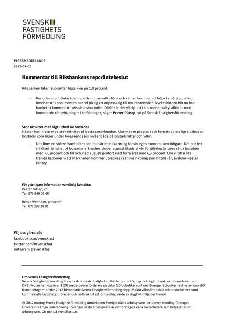 Kommentar till Riksbankens reporäntebeslut