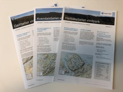 Tre nyhetsbrev i postkassen til naboer av Geitfjellet, Harbaksfjellet og  Kvenndalsfjellet  vindparker