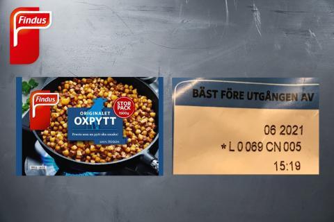 Findus återkallar ett parti av produkten Originalet Oxpytt Storpack 1500 gram, artikelnummer 96007717