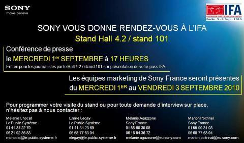 INVITATION Sony IFA 2010