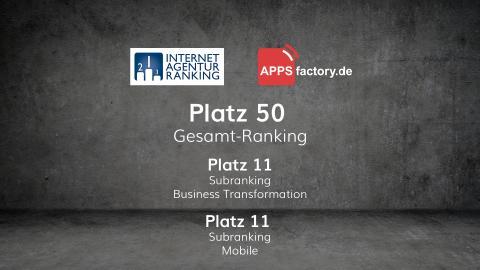 Internetagentur-Ranking 2018: APPSfactory auf Platz 50 der größten Digitalagenturen Deutschlands