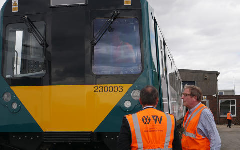 Jan Chaudhry-van der Velde and Adrian Shooter at Long Marston to unveil with special livery for the upcoming Class 230 units