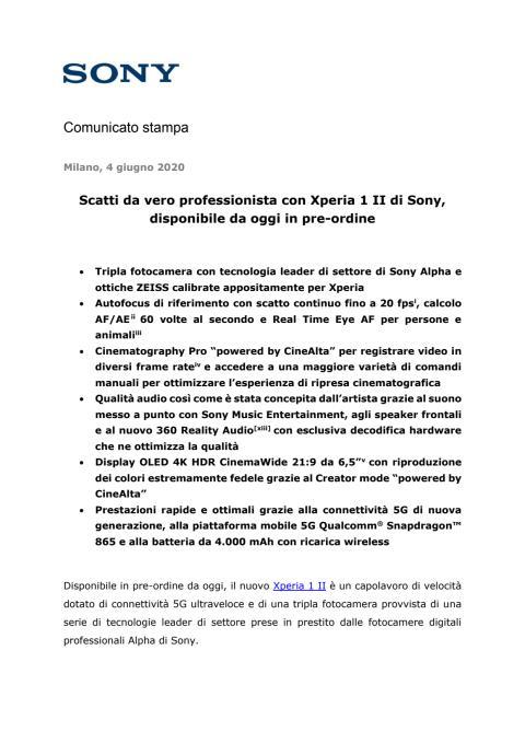 Scatti da vero professionista con Xperia 1 II di Sony, disponibile da oggi in pre-ordine