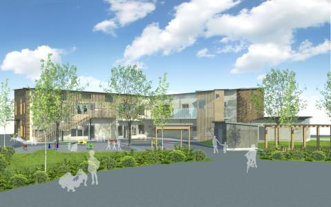 Illustration av den nya förskolan Rosendal med sex avdelningar