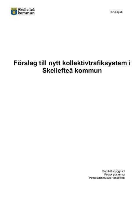 Förslag till nytt kollektivtrafiksystem för Skellefteå kommun