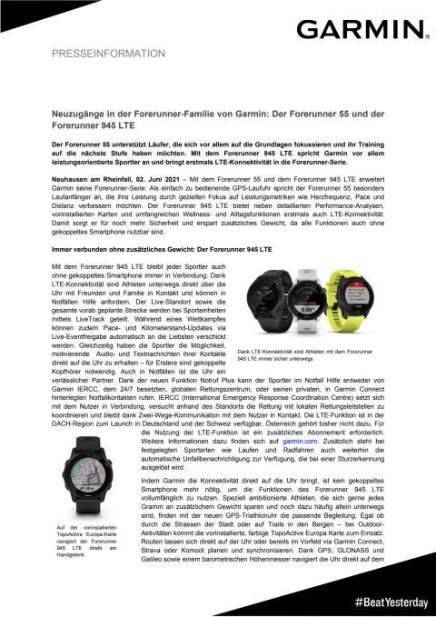 Pressemitteilung Garmin Forerunner 945 LTE und Forerunner 55