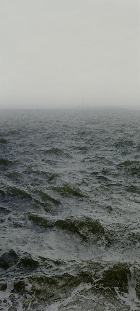 Nadav Kander, Water XVIII, Shoeburyness towards Mulberry Defenses and on to Grain Power Station, England 2015. Courtesy of Flowers Gallery