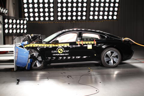 Porsche Taycan frontal offset impact test Dec 2019